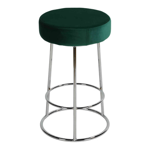 Cortesi Home Bodiam Counterstool in Green Velvet and Chrome Metal, 24
