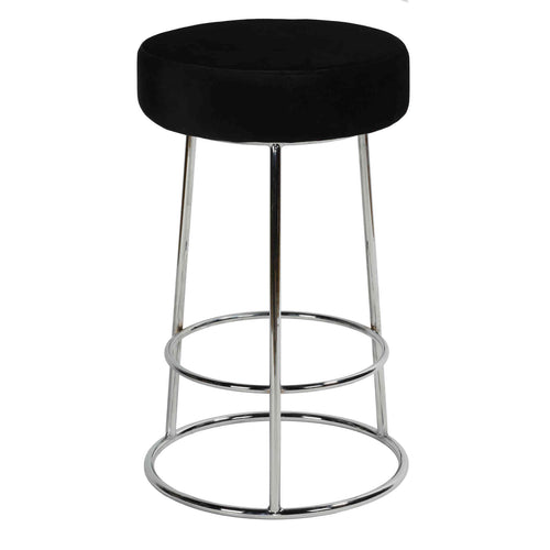Cortesi Home Bodiam Counterstool in Black Velvet, with Chrome, 24
