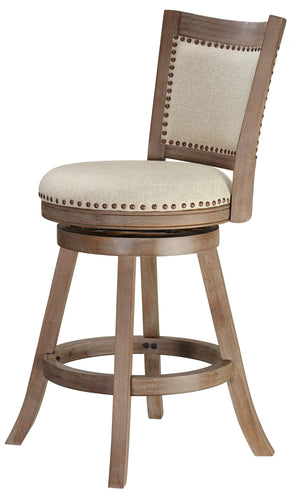 Cortesi Home Marko Counter Stool Beige Fabric Swivel Seat with Back, 24