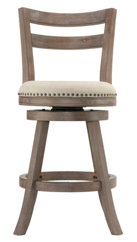 Cortesi Home Harper Counter Stool Swivel Bar Stool with Back in Solid Oak Wood, Beige Fabric