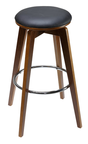 Cortesi Home Draven Barstool with Swivel Seat in Genuine Top Grain Black Leather (Set of 2), 30