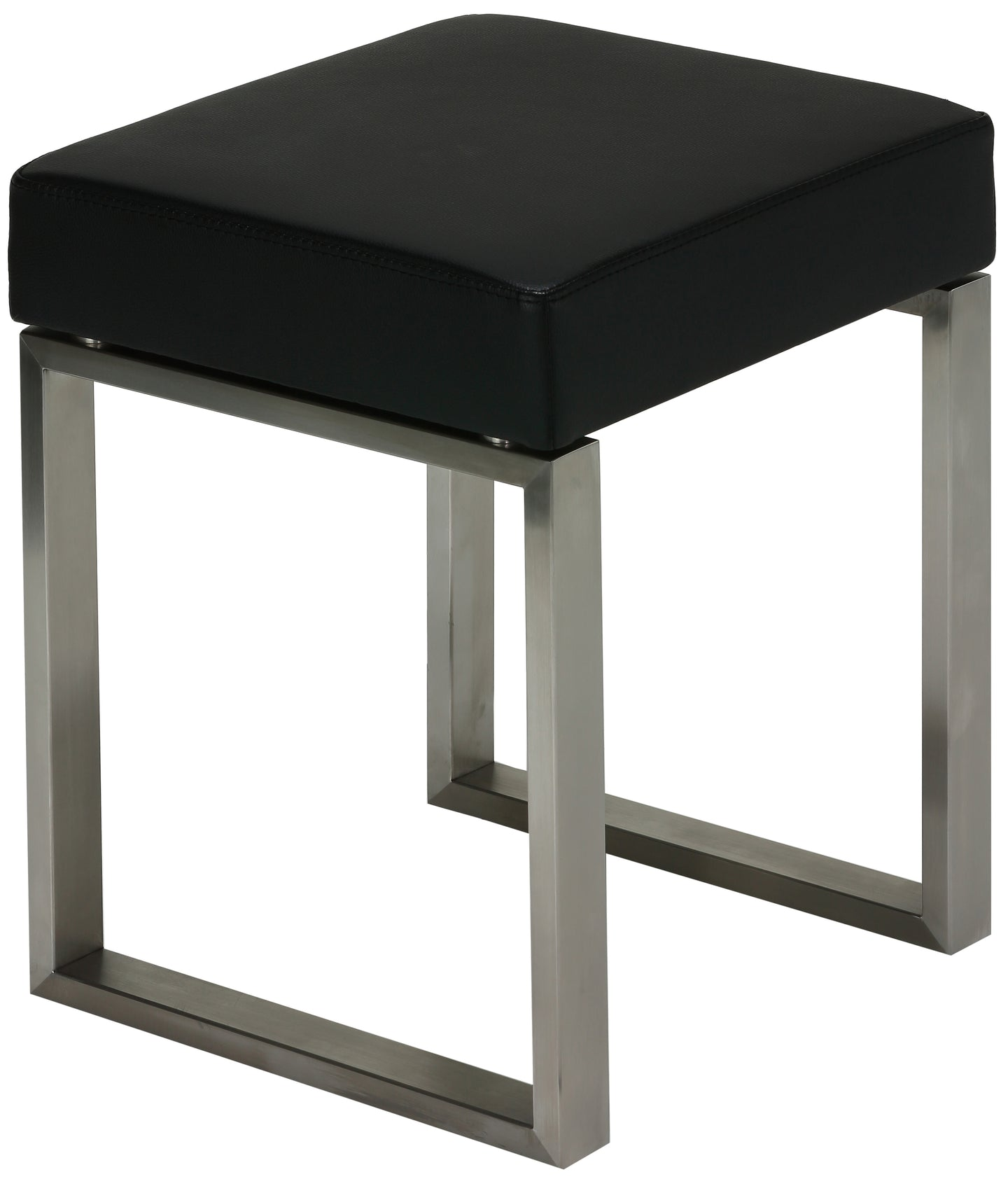Cortesi Home Tilio Stainless Steel Stool in Black Leather Like Vinyl, Brushed Nickel