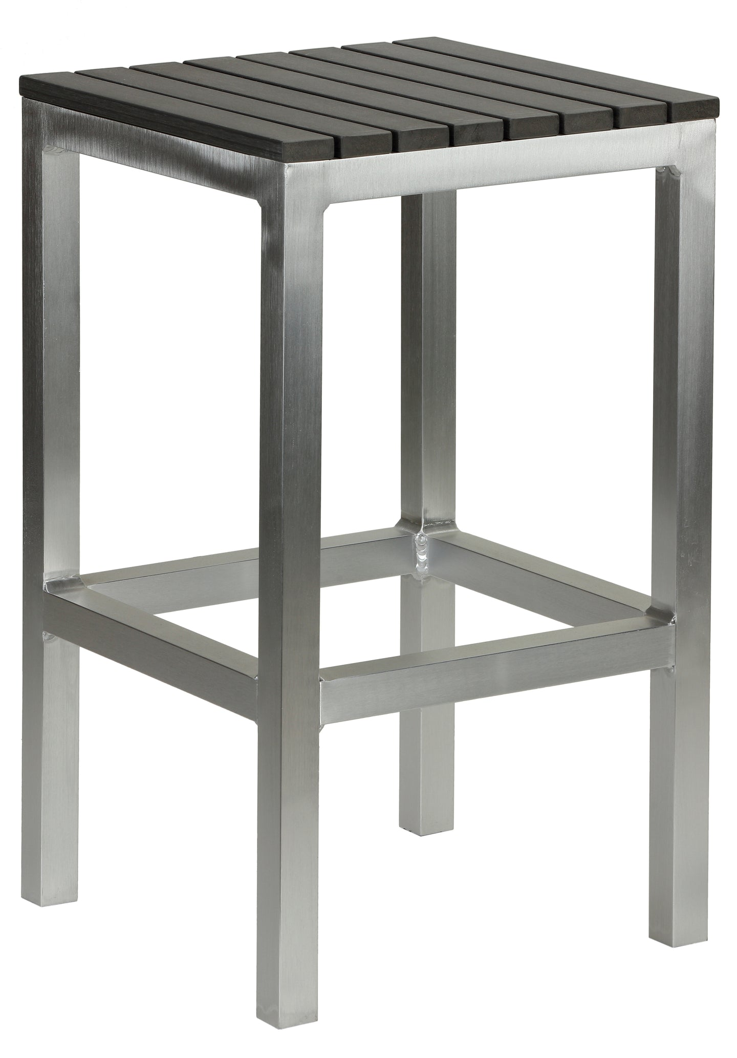 Haven Aluminum Outdoor Backless Counter Stool in Slate Grey Poly Resin in Brushed Aluminium, 14