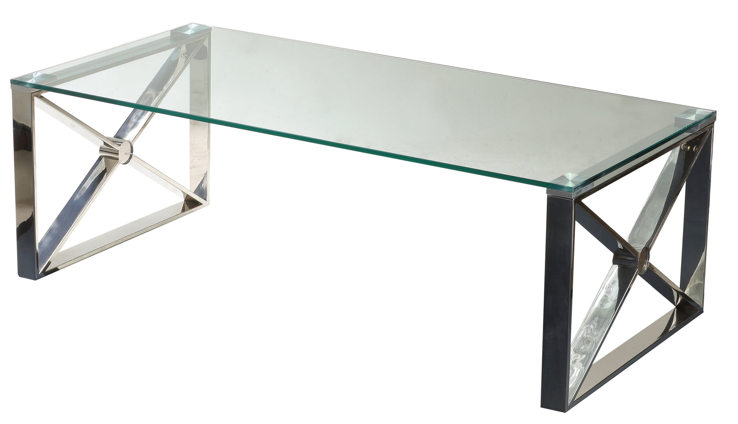 Cortesi Home Moses Contemporary Glass Coffee Table in Polished Stainless Steel, 48x24x16