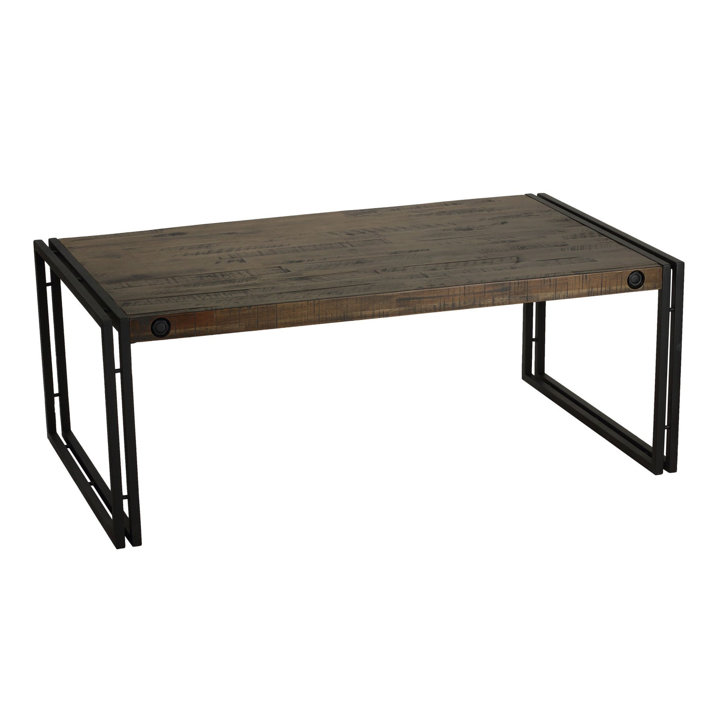 Cortesi Home Penni Coffee Table, Solid Wood with Black Metal Frame, Dark Grey