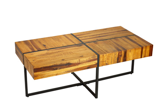 Cortesi Home Landon Coffee Table, Solid Wood with Black Metal Frame