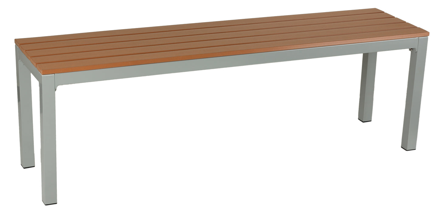 Avery Large Aluminum Outdoor Bench in Poly Resin, Silver/Teak