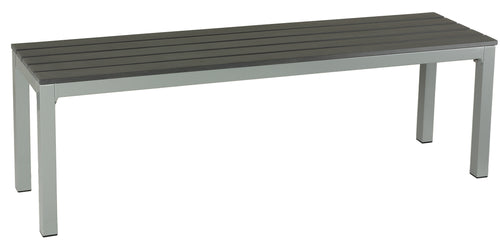Cortesi Home Jaxon Large Aluminum Outdoor Bench in Poly Resin, Silver/Slate Grey