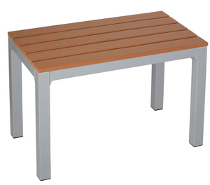 Avery Aluminum Outdoor Bench in Poly Resin, Silver/Teak