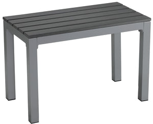 Jaxon Aluminum Outdoor Bench in Poly Resin, Silver/Slate Grey