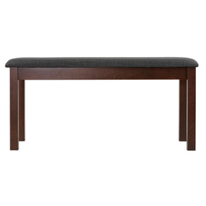 Cortesi Home Rosco Dining Bench in Charcoal Fabric, Walnut Finish 40""