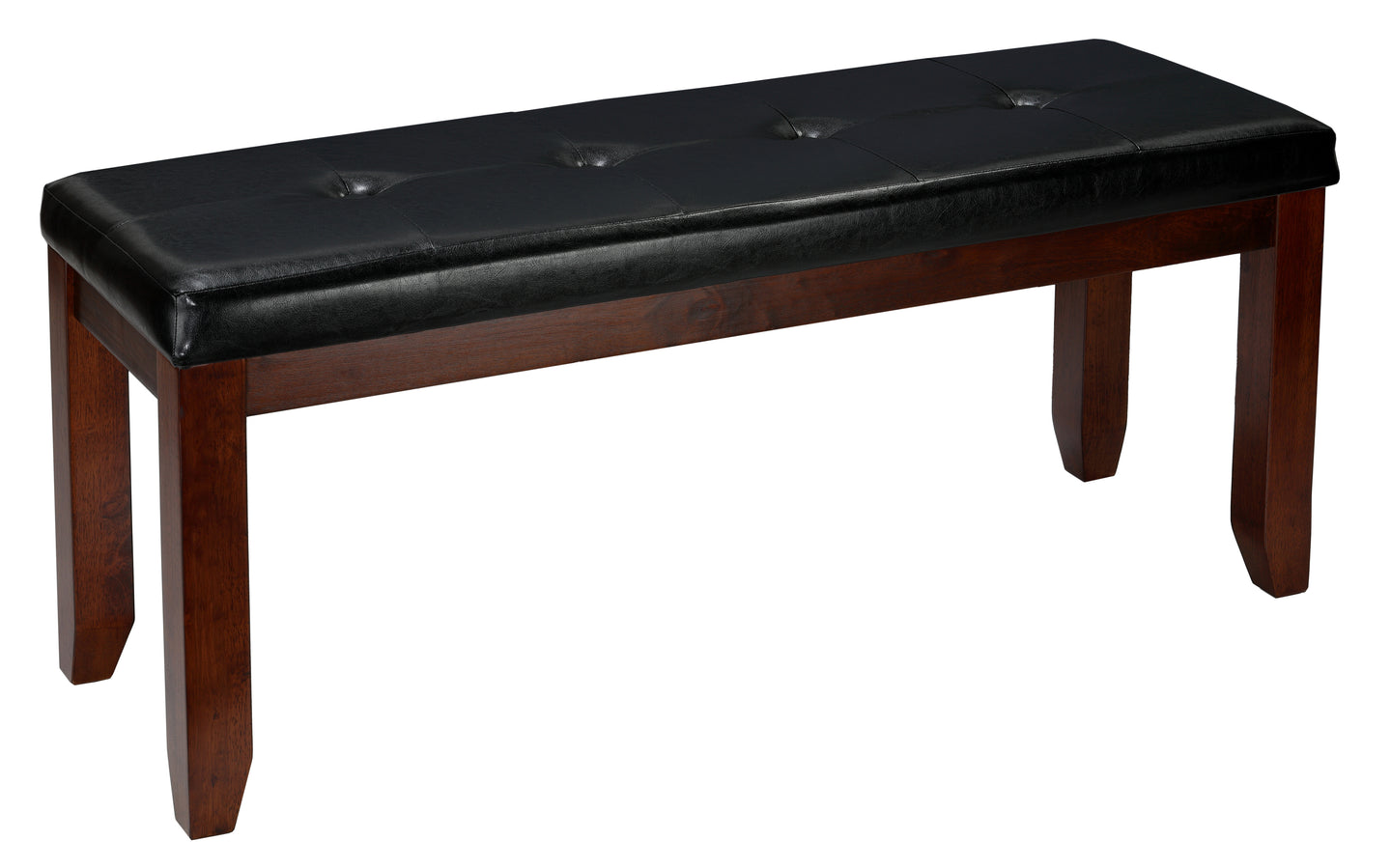 Cortesi Home Mandi Dining Bench, Solid Wood & Tufted Black Faux Leather