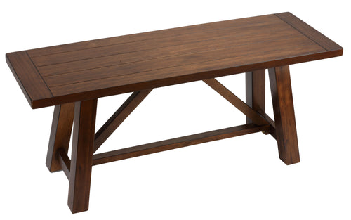 Cortesi Home Birmingham Solid Wood Dining Bench in Walnut Finish in Walnut Finish in Walnut Finish, 44