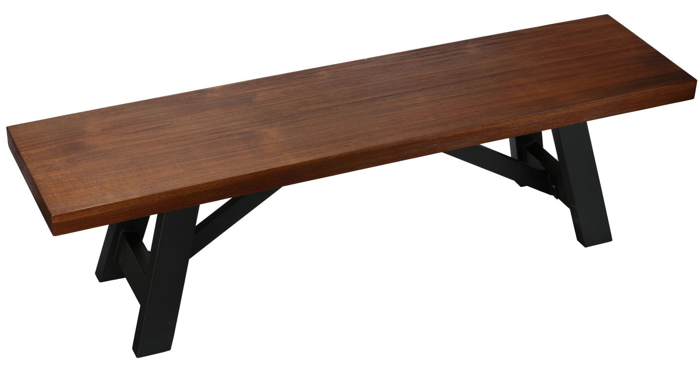 Cortesi Home Marli Dining Bench with Black Steel Trestle Frame