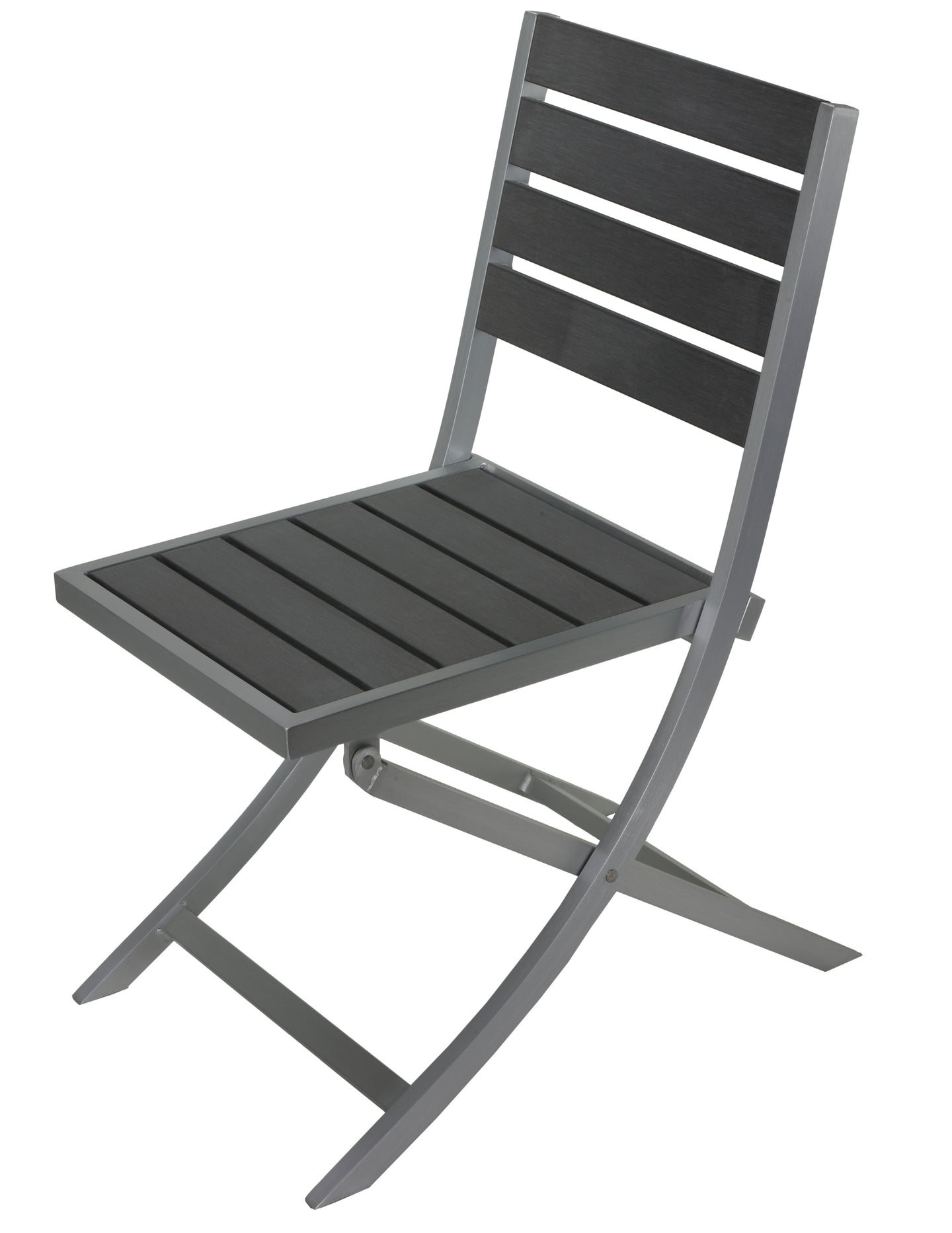 Maxwell Aluminum Outdoor Folding Chair in Slate Grey Poly Resin, Brushed Nickel 1 chair