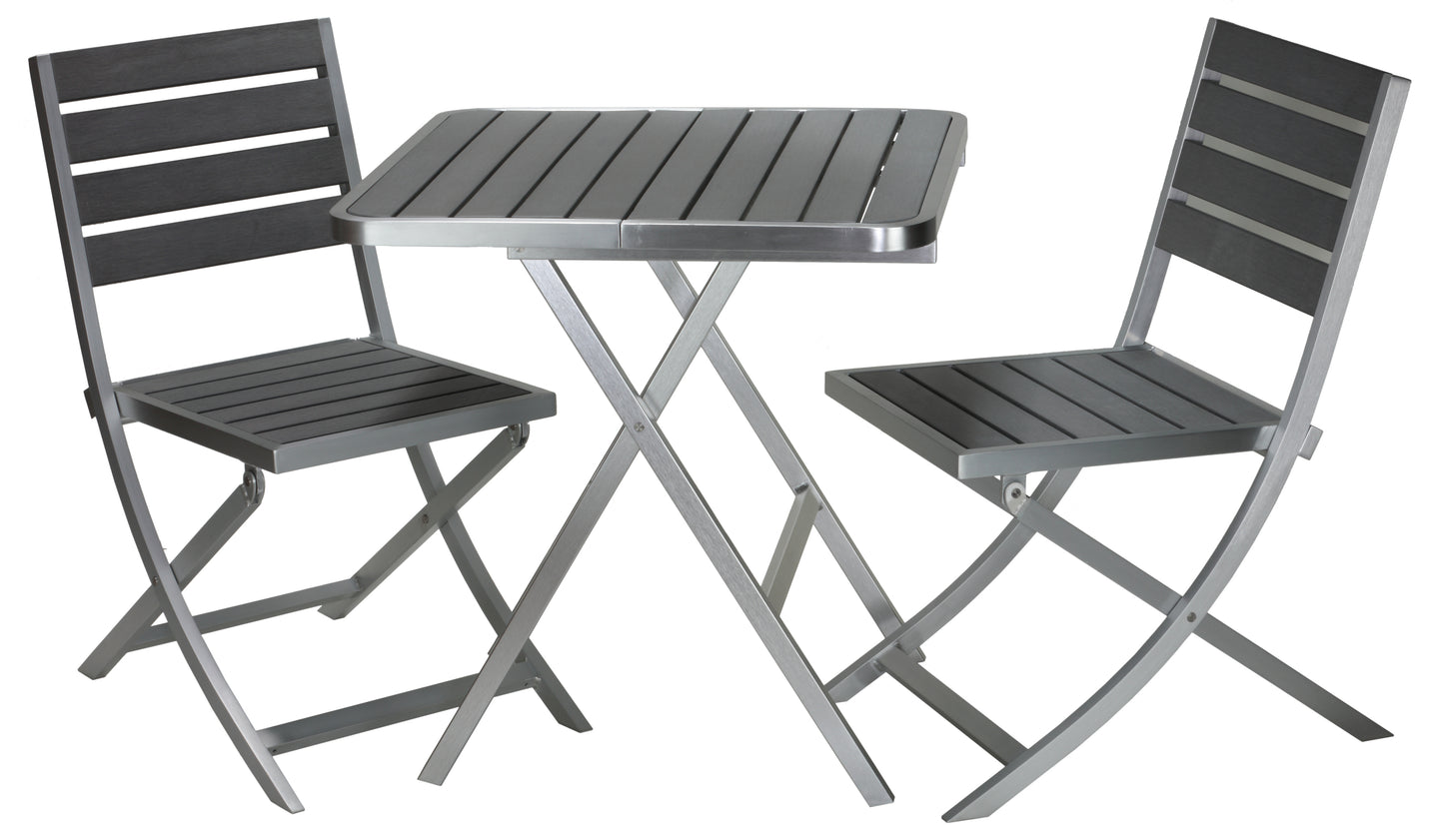 Maxwell Aluminum Outdoor Folding 3-Piece Set in Slate Grey Poly Resin (2 Chairs & Table)