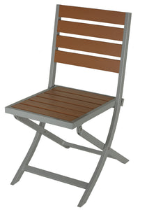 Avery Aluminum Outdoor Folding Chair in Teak Color Poly Resin, 1 chair