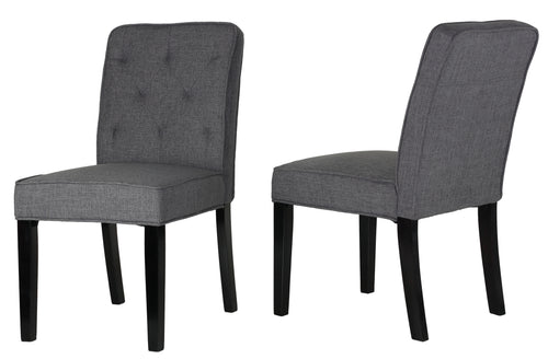Cortesi Home Lyndon Dining Chair in Grey Linen Fabric with Tufted Back (Set of 2)