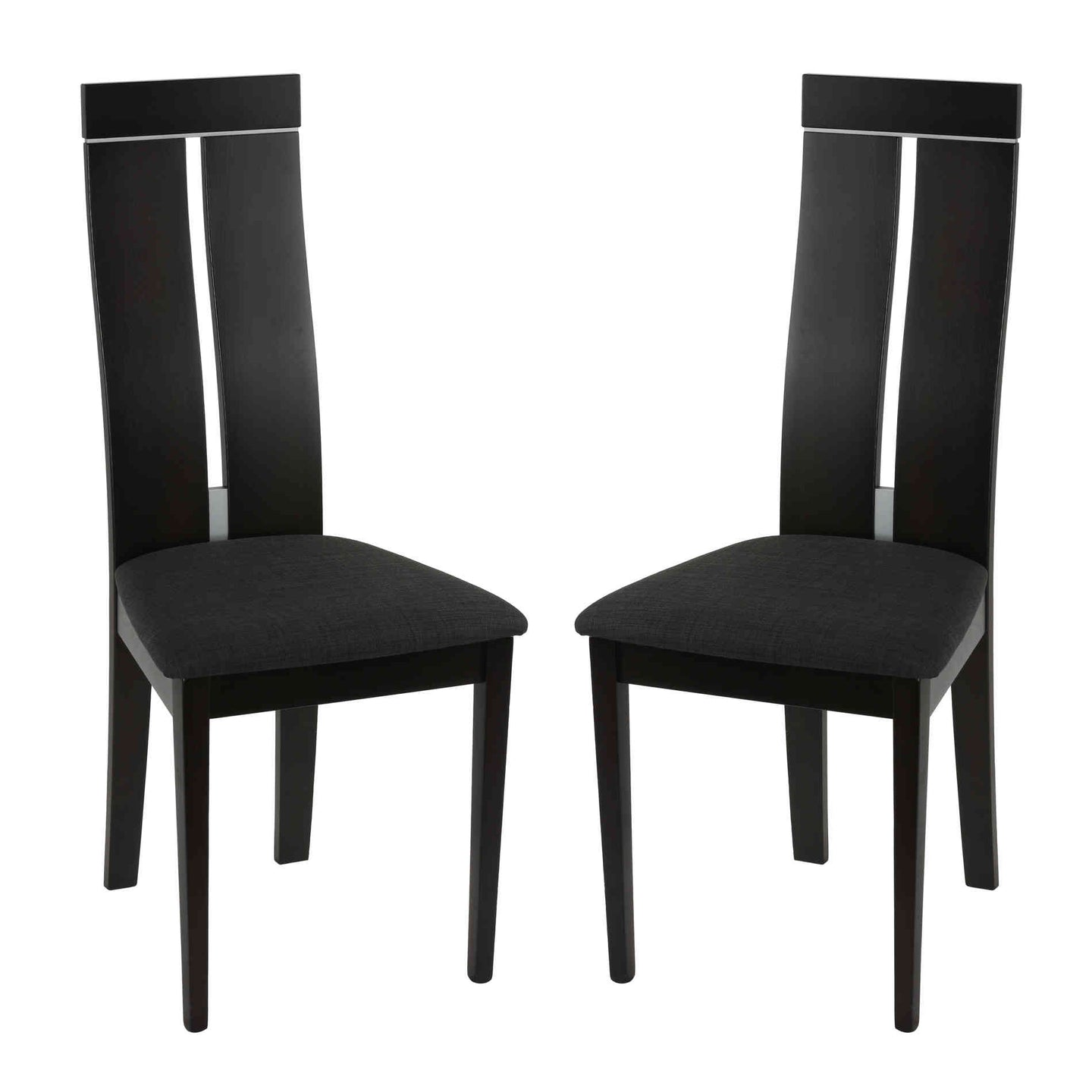 Cortesi Home Inca Dining Chair in Charcoal Fabric, Cappuccino Finish (Set of 2)