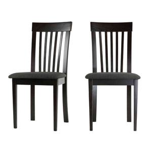Cortesi Home Linnea Dining Chair in Charcoal Fabric, Cappuccino Finish (Set of 2)