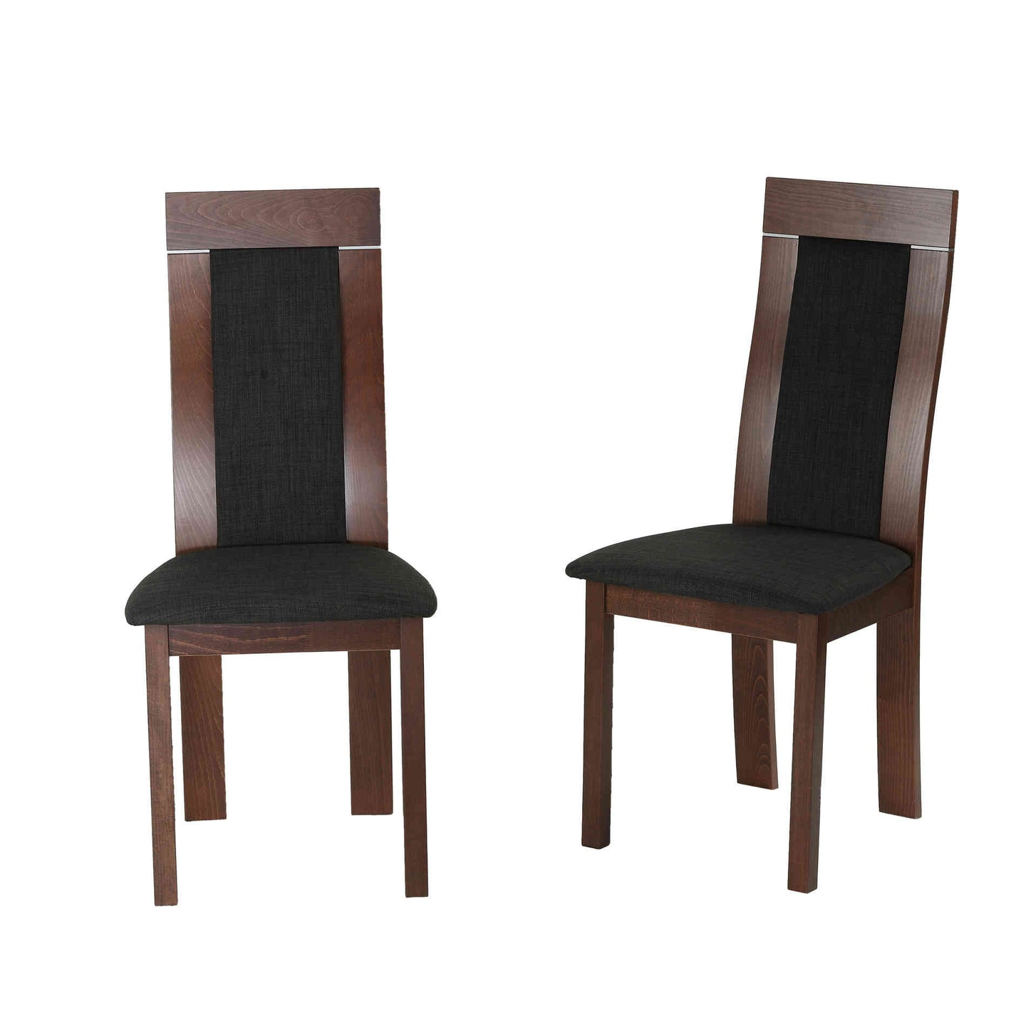 Cortesi Home Tia Dining Chair in Charcoal Fabric, Walnut Finish (Set of 2)