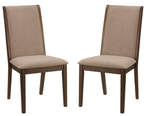 Cortesi Home Kendall Dining Chairs Walnut Color with Fabric, Truffle Taupe (Set of 2)