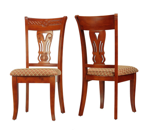 Cortesi Home Josephine Queen Ann Harp Back Dining Chair in Brown and Gold Brocade (Set of 2)