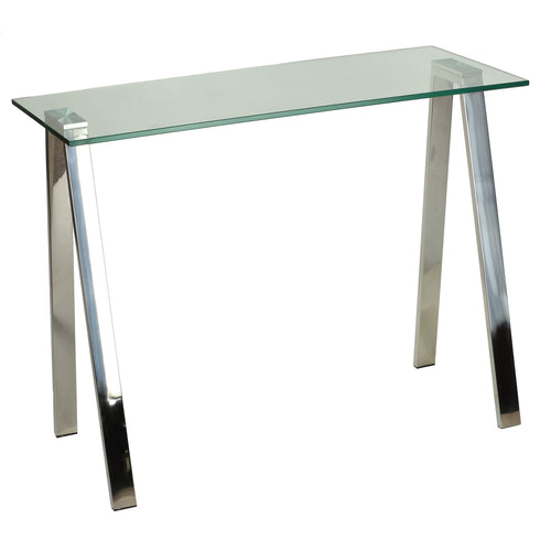 Cortesi Home Trixie Glass Top Desk / Console Table with Stainless Steel Frame