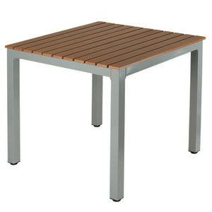 Avery Aluminum Outdoor Table in Poly Resin, Silver/Teak
