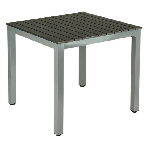 Jaxon Aluminum Outdoor Table in Poly Resin, Silver/Slate Grey
