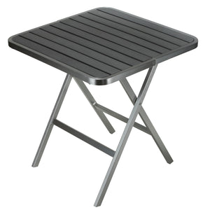 "Cortesi Home Maxwell Aluminum Outdoor Square Folding Table in Poly Resin, Brushed Aluminum / Slate Grey 28"" Square"