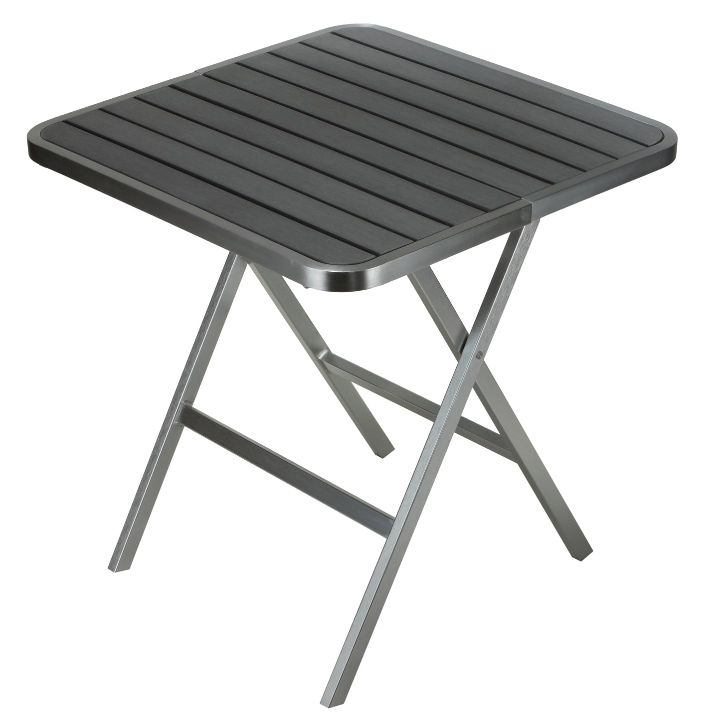 Cortesi Home Maxwell Aluminum Outdoor Square Folding Table in Poly Resin, Brushed Aluminum / Slate Grey 28
