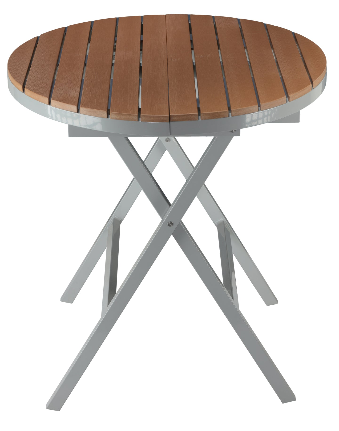 Cortesi Home Avery Aluminum Outdoor Round Folding Table in Poly Resin, Teak