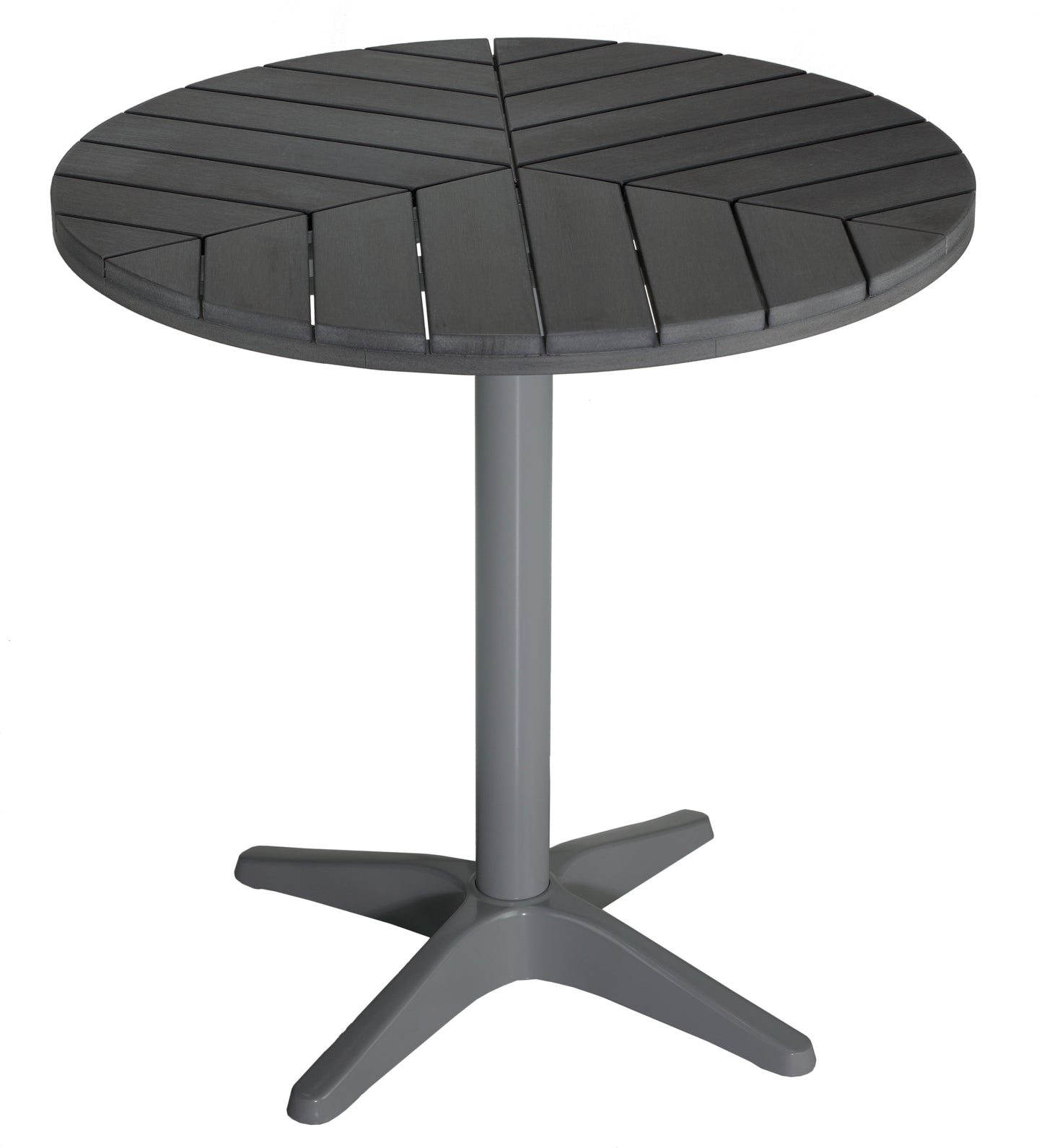 Jaxon Round Aluminum Outdoor Bistro Table in Poly Resin, Silver / Slate Grey 28