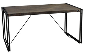 Cortesi Home Thayer Distressed Wood Top Desk Table with Black Metal Legs