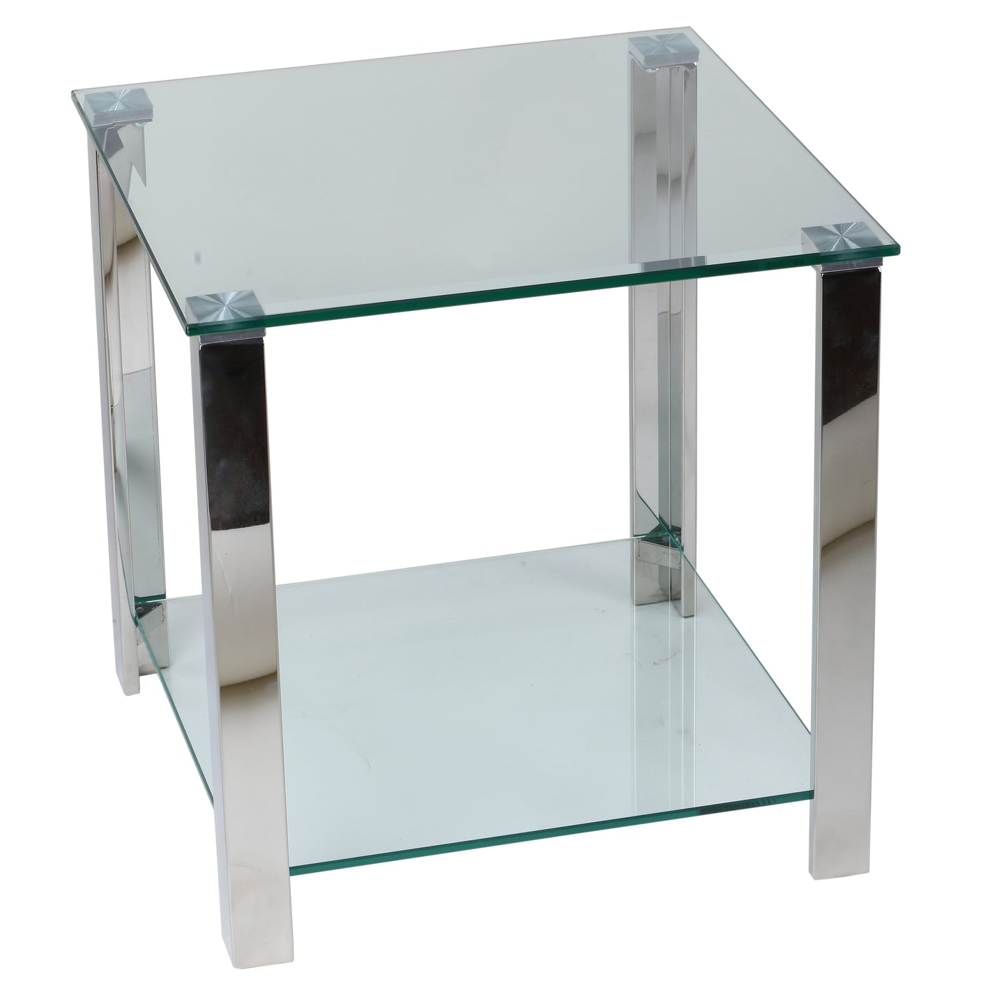 Cortesi Home Melissa Double Shelf Glass End Table, 20