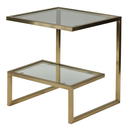 Cortesi Home Luician Contemporary End Table, Brushed Gold