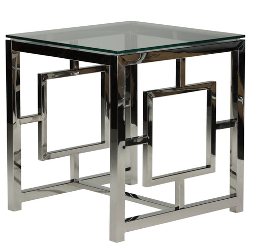 Cortesi Home Kamdyn Square Contemporary End Table, Metal & Glass