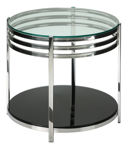 Cortesi Home Lavia Contemporary Two Tier Round Glass End Table