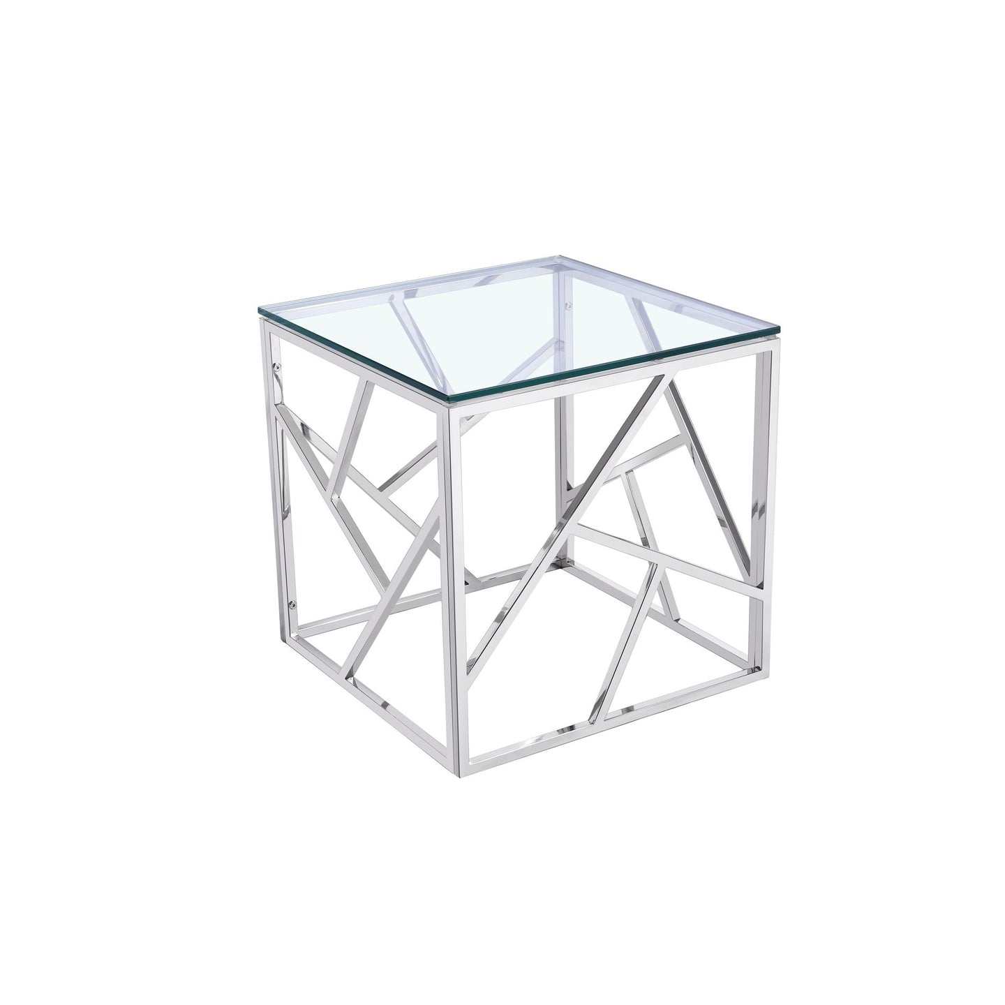 Cortesi Home Nico Square Stainless Steel End Table