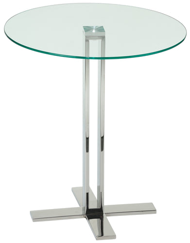 Cortesi Home Solen Round Glass End Table