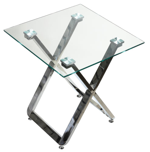 Cortesi Home Axe Clear Glass and Metal Square End Table