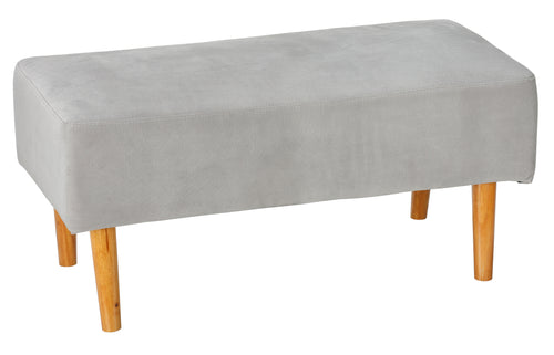 Cortesi Home Verlo Mid-Century Ottoman with Wood Legs, Grey Fabric
