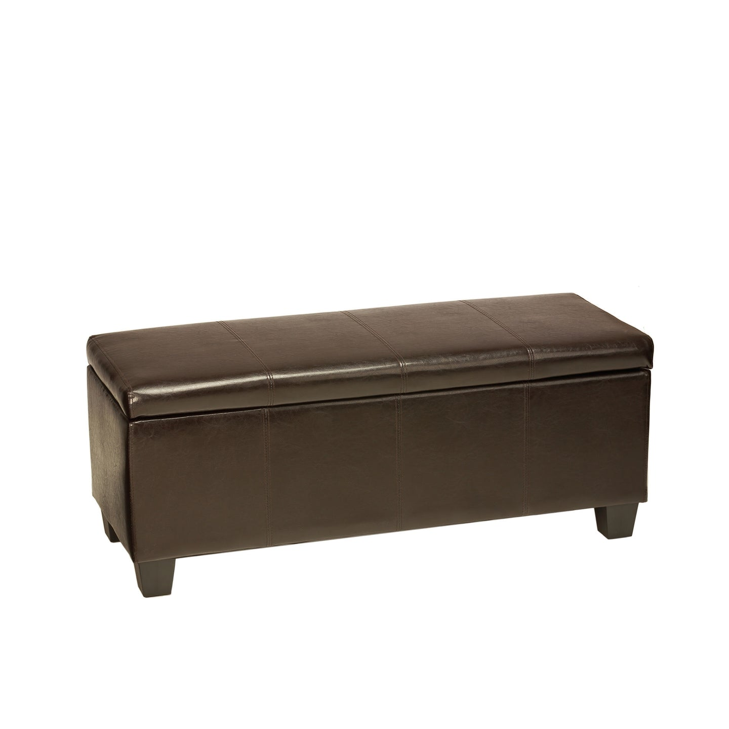 Cortesi Home Nives Espresso Brown Long Storage Ottoman Bench