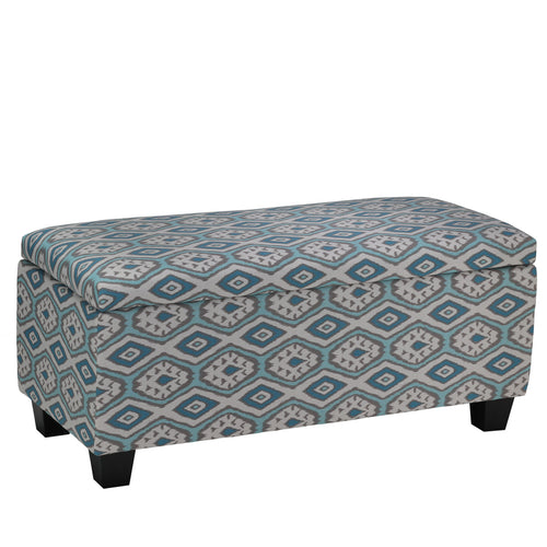 Cortesi Home Yarka Storage Ottoman in Linen, Ikat Pattern