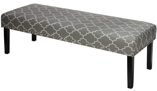 Cortesi Home Farrah Bed Bench, Grey Fabric with Nailhead Trim