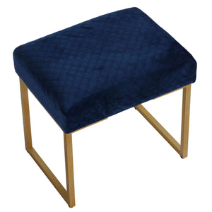 "Cortesi Home Allium Ottoman with Painted Gold Legs, 19"" Wide, Blue Velvet"