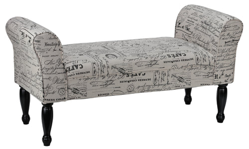 Cortesi Home Bailee Curved Arm Bench in Beige Script Linen