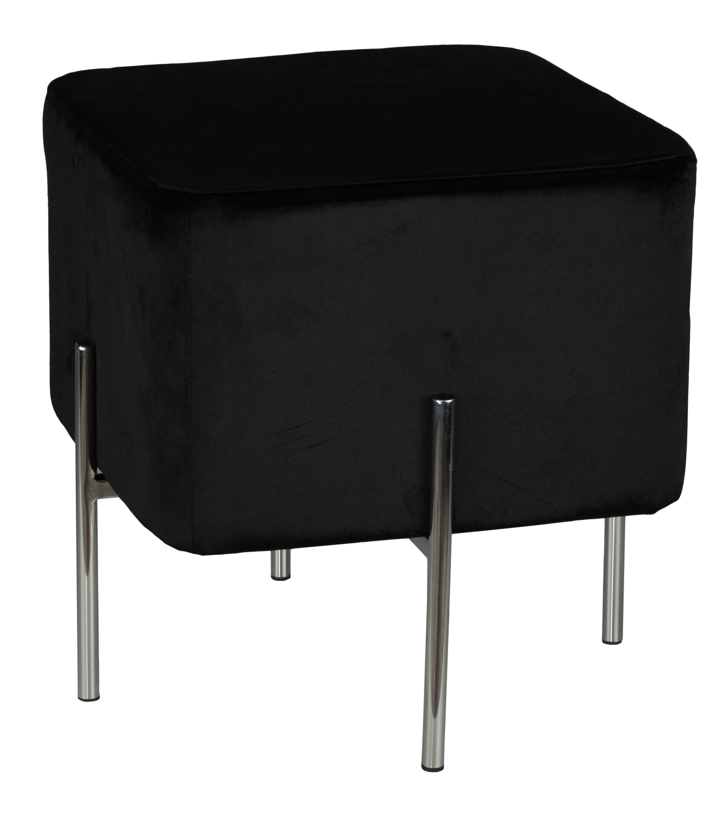Cortesi Home Zane Contemporary Metal Legs Cube Ottoman, Black Velvet