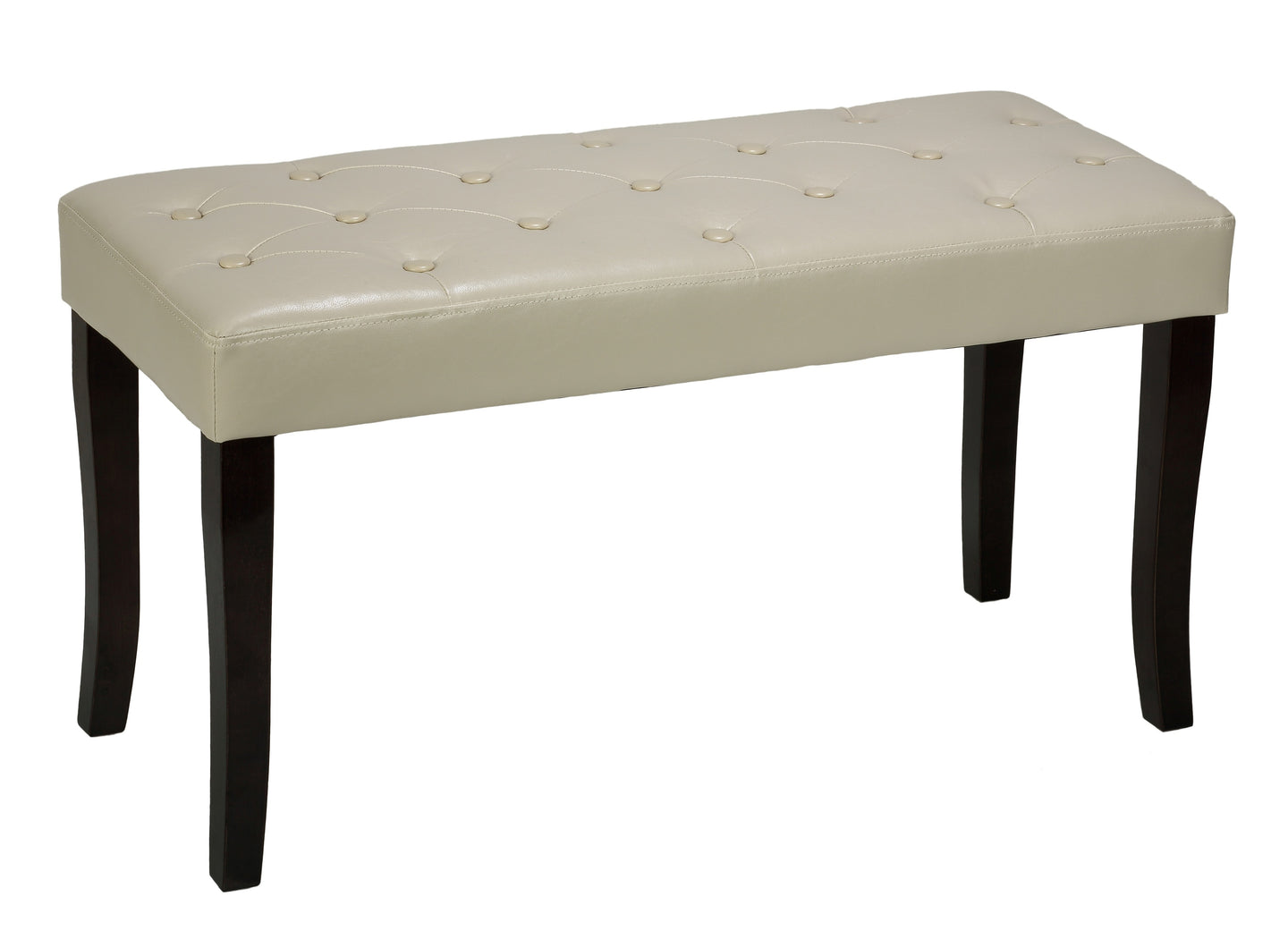 Cortesi Home Johann Bench Ottoman in Cream Vinyl